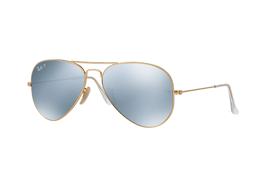 Ray Ban Aviador Matte Gold lente Silver Flash Polarized cod. RB3025 112/W3 58