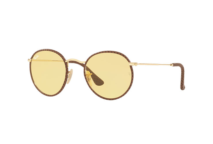 Ray Ban Round Craft Leather Light Brown lente Yellow Photocromatic Fotocromáticos cod. RB3475Q 90424A 50 - Image 1