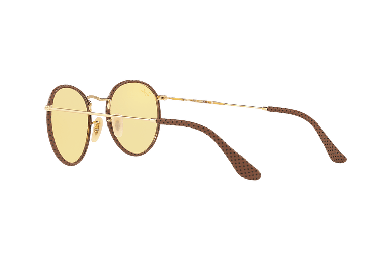 Ray Ban Round Craft Leather Light Brown lente Yellow Photocromatic Fotocromáticos cod. RB3475Q 90424A 50 - Image 4
