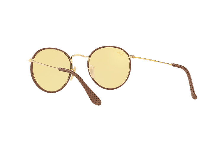 Ray Ban Round Craft Leather Light Brown lente Yellow Photocromatic Fotocromáticos cod. RB3475Q 90424A 50 - Image 5