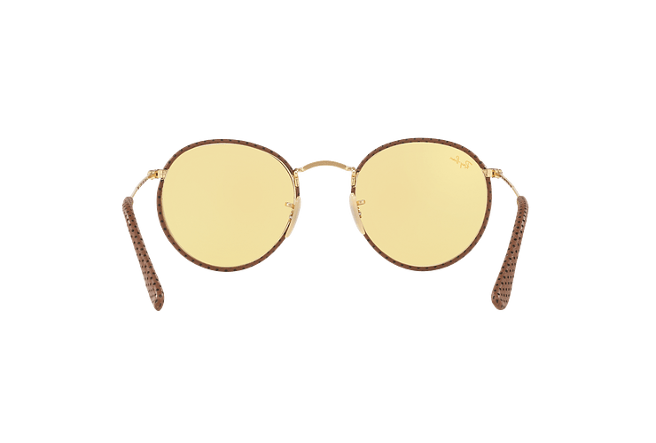 Ray Ban Round Craft Leather Light Brown lente Yellow Photocromatic Fotocromáticos cod. RB3475Q 90424A 50 - Image 6