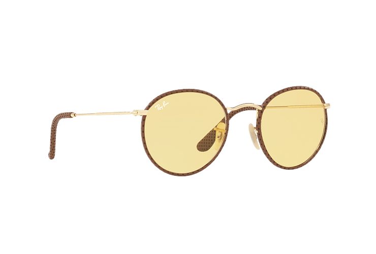 Ray Ban Round Craft Leather Light Brown lente Yellow Photocromatic Fotocromáticos cod. RB3475Q 90424A 50 - Image 11