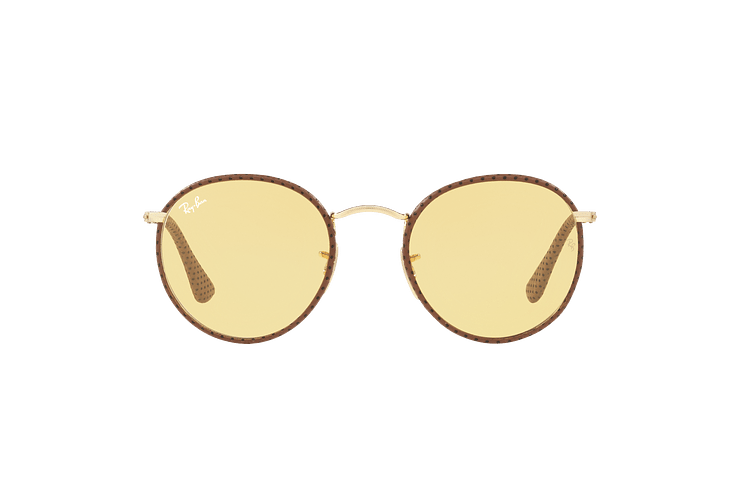 Ray Ban Round Craft Leather Light Brown lente Yellow Photocromatic Fotocromáticos cod. RB3475Q 90424A 50 - Image 12