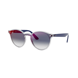Ray Ban Round RB4380N Blaze Matte Transparent Blue lente Blue Mirror red cod. RB4380N 6356X0 37