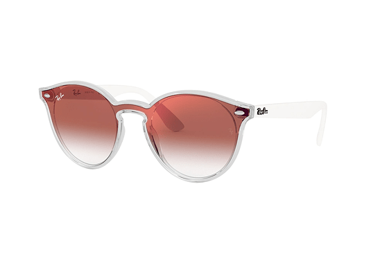 Ray Ban Round RB4380N Blaze Matte Transparent Red lente Clear Gradient Red Mirror cod. RB4380N 6357V0 37