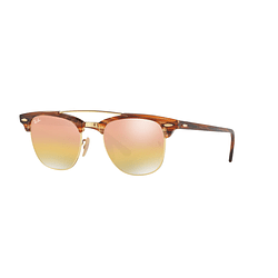 Ray Ban Clubmaster Double Bridge Gold lente Pink/Gold Mirror Gradient cod. RB3816 1237I1 51