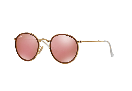 Ray Ban Round Plegable Gold lente Brown Mirror Pink cod. RB3517 001/Z2 51