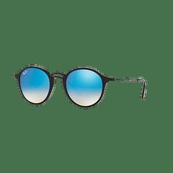 Ray Ban Round Fleck Shiny Black lente Blue Mirror Gradient cod. RB2447 901/4O 52