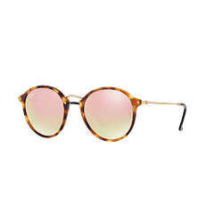Ray-Ban Round Fleck Spotted Brown Havana lente Copper Flash Gradient cod. RB2447 11607O 49