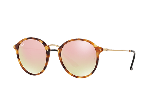 Ray Ban Round Fleck Spotted Brown Havana lente Copper Flash Gradient cod. RB2447 11607O 49
