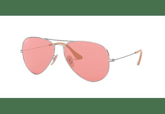 Ray Ban Aviador Silver lente Pink Polarized Fotocromáticos cod. RB3025 9065V7 58
