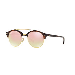 Ray Ban Clubround Double Bridge Shiny red havana lente Copper Flash Gradient cod. RB4346 990/7O 51