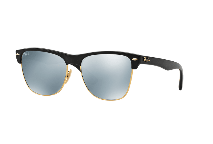 Ray-Ban Clubmaster Oversized Shiny Black lente Silver Mirror cod. RB4175 877/30 57 - Image 1