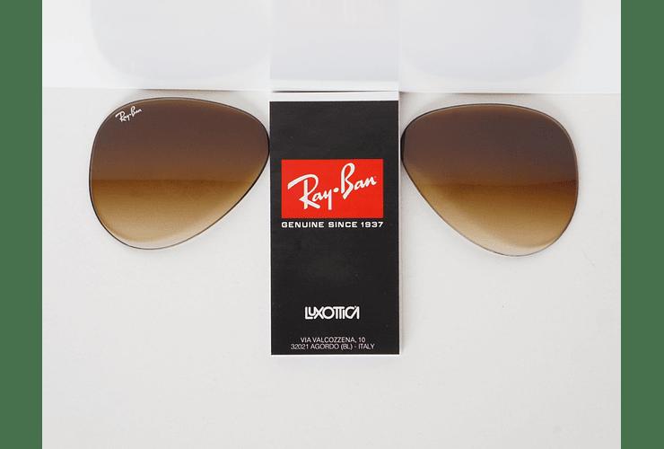Lente de repuesto/reemplazo Ray Ban Aviador/Aviator RB3025 Café Degradé 55mm (pequeño)