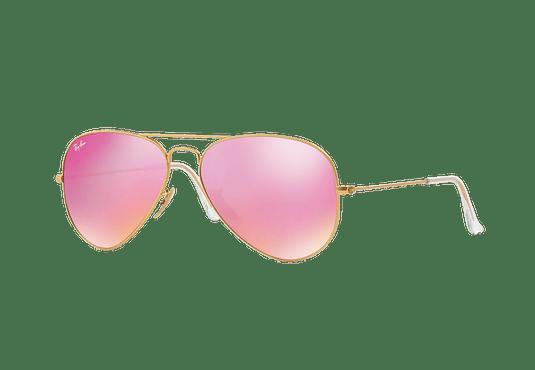 Ray Ban Aviador Matte Gold lente Fuxia Mirror cod. RB3025 112/4T 58
