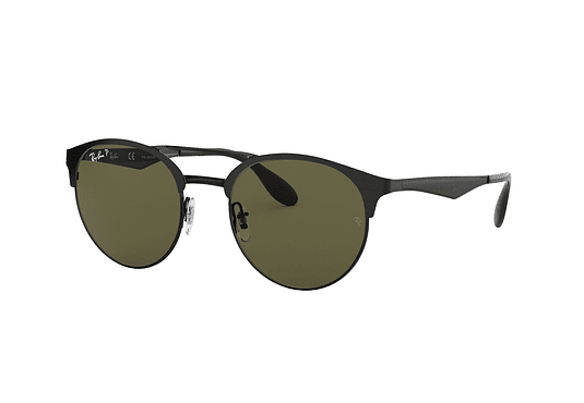 Ray Ban Round RB3545 Shiny/Matte Black lente Green Polarized cod. RB3545 186/9A 54