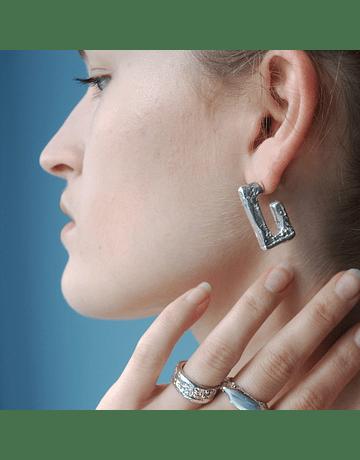 3/4 rectangle textured earrings