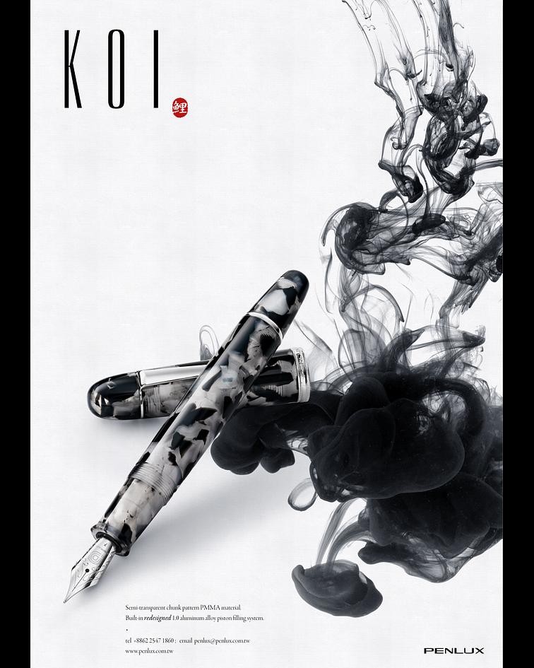 Pluma Penlux Koi-Negra y Blanca - Como el pez KOI