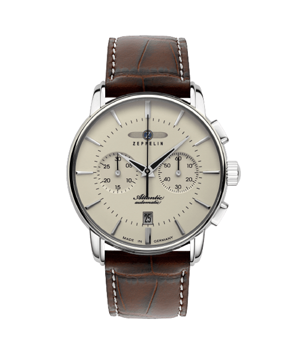Reloj Cronografo Zeppelin Automatico Cristal Zafiro - Esfera Beige