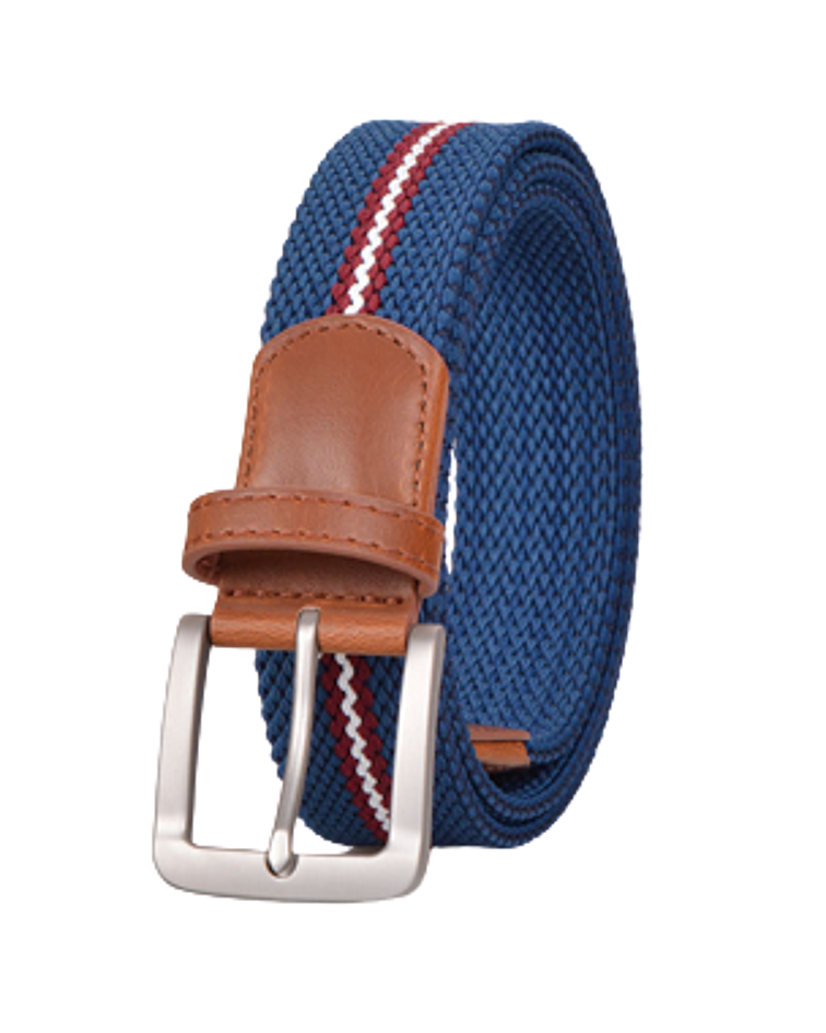Cinturón Género Elasticado - Eco Cuero Azul Línea Roja