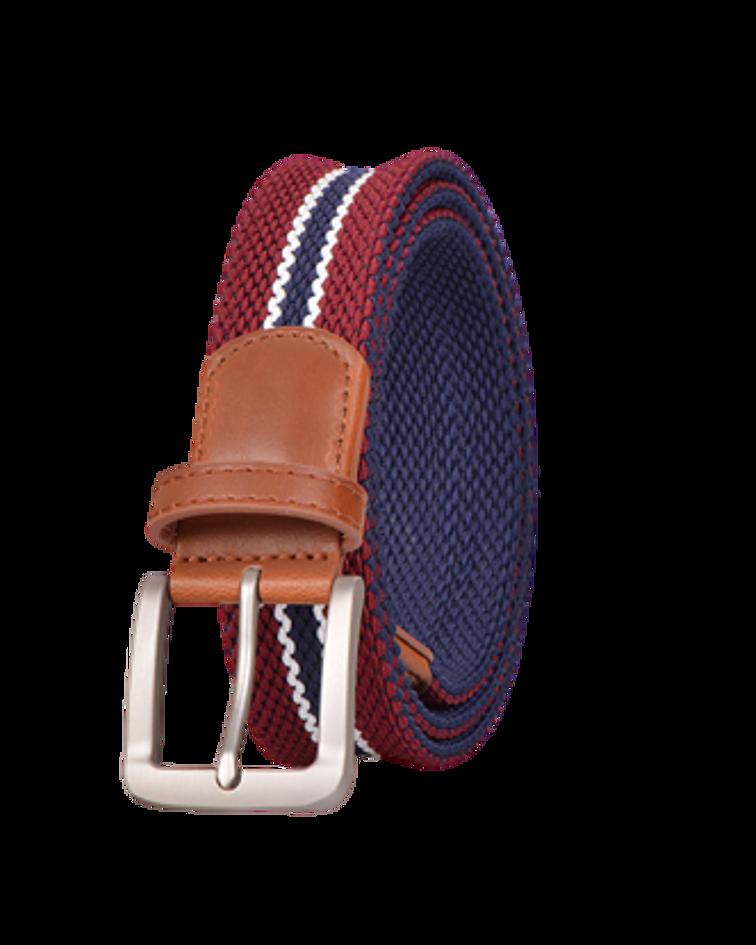 Cinturón Género Elasticado Eco Cuero Rojo Linea Azul