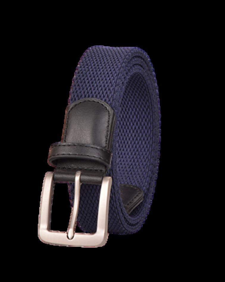 Cinturón Género Elasticado Eco Cuero Azul Liso