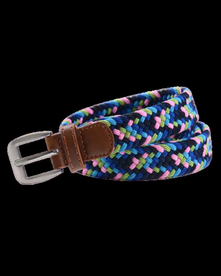 Cinturón Género Elasticado Eco Cuero Multicolor Rosado  y Azul