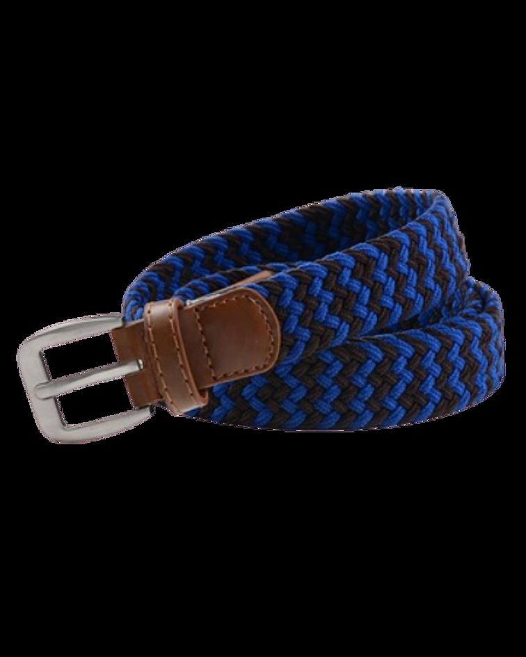 Cinturón Género Elasticado Eco Cuero Multicolor Azul y Negro