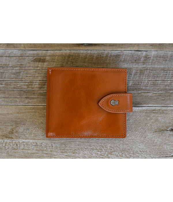 Billetera de cuero de alta Calidad - Color Caramelo y Broche
