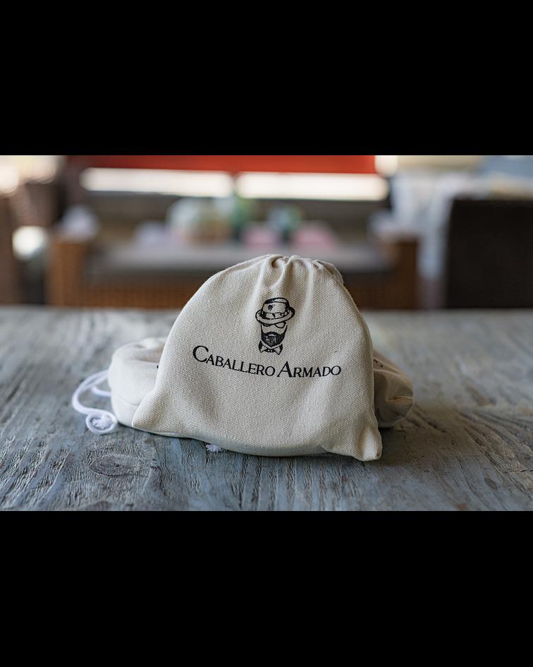 Cinturón Caballero Armado - Cuero Genuino Cafe - Tela Rojo/Beige