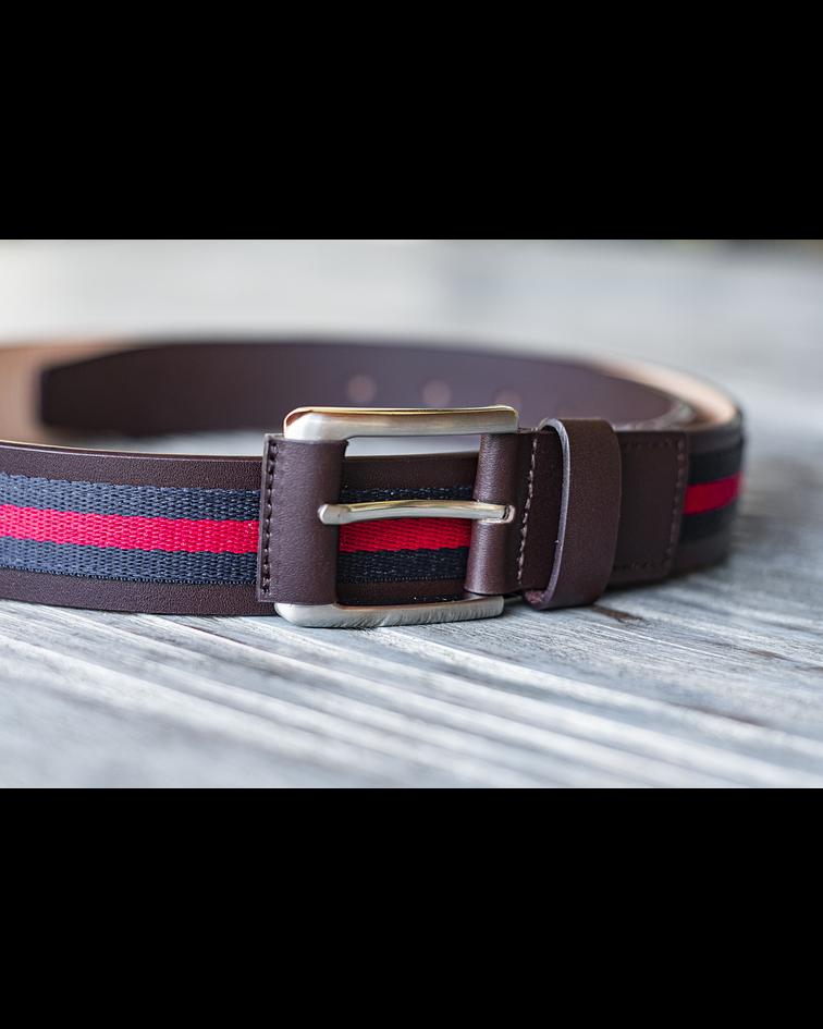 Cinturón Caballero Armado - Cuero Genuino Cafe y tela Rojo/Azul