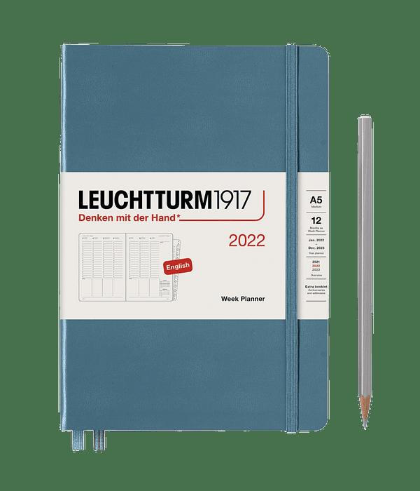 Agenda Leuchtturm 2022 Mediana Sem Vista Vertical TD 12M - Stone Blue