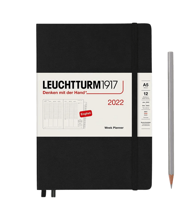 Agenda Leuchtturm 2022 Mediana Sem Vista Vertical TB 12M - Black