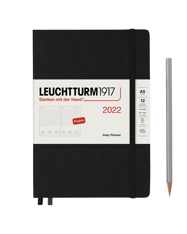 Agenda  Leuchtturm 2022 Mediana Día por pág Tapa Dura 12M - Black