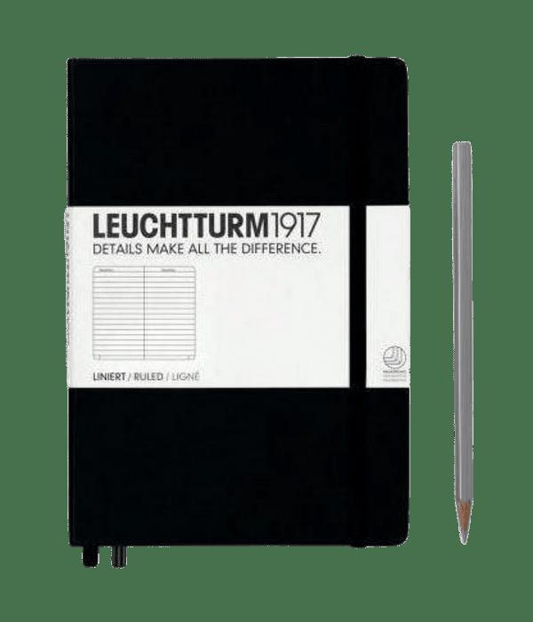Libreta Leuchtturm Mediana Tapa Dura Composición Negra