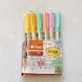 Set 6 destacadores pastel Lighter Fine