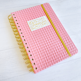 Cuaderno Tapa Dura A5 Puntos Rosado