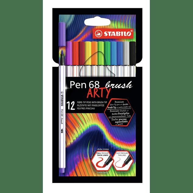 Set 12 Stabilo Pen 68 Brush Arty