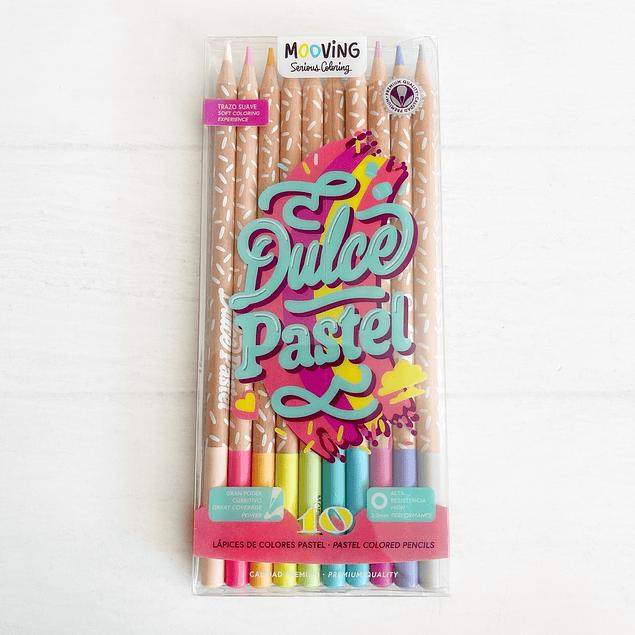 Estuche con 10 lápices colores pastel premium