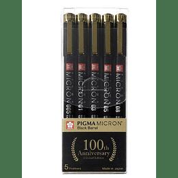 Set 5 tiralíneas Pigma Micron Sakura Black Barrel 100 años