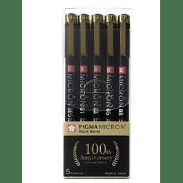 Set Pigma Micron Sakura Black Barrel 100 años