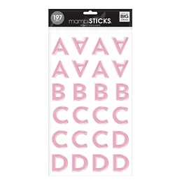 PINK FOIL ALPHA LARGE ICONS STICKERS