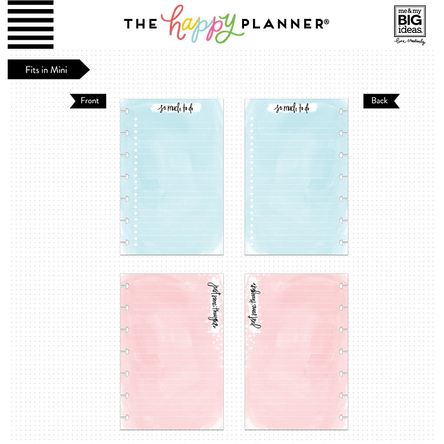 Inserts para Mini Happy Planner Colores