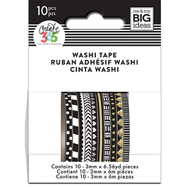 Black Skinny Washi Tape