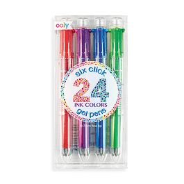 6 click multi color gel pens - set of 4
