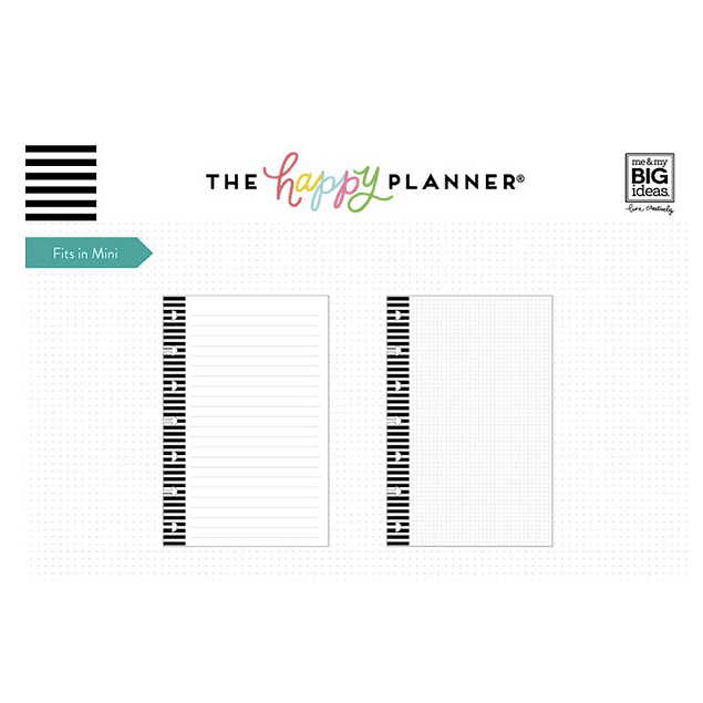 Insert Líneas y Cuadros Mini Happy Planner