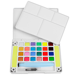 Set de 24 colores Acuarelas en Pastilla Koi Metálicas, Perladas y Fluor
