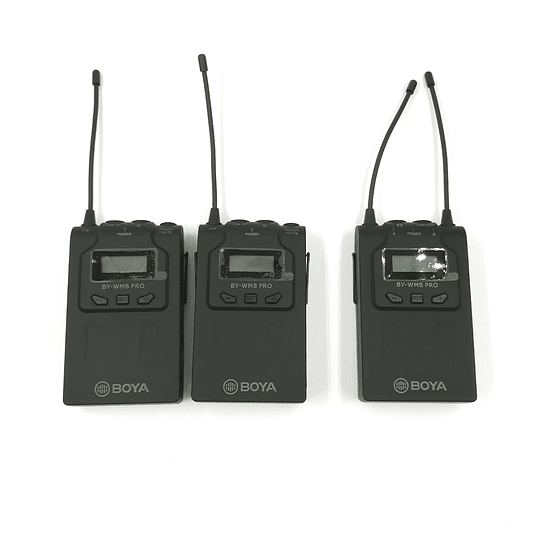 MICRÓFONO INALÁMBRICO DOBLE  ( Receptor + 2 Transmisores ) BY-WM8 Pro K2