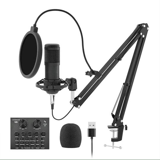 Kit Microfono Condensador, Con Brazo Y Tarjeta De Sonidos Y Efectos De Voz