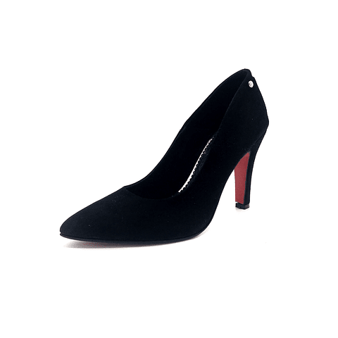 STILETTO  EN GAMUZA NATURAL MODELO LADY NEGRO  (12 4445)